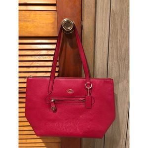Red Leather Coach Tote